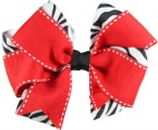 Zebra Print Layered Red Hair Bow