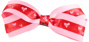 Happy Valentines Day Pink Hair Bow
