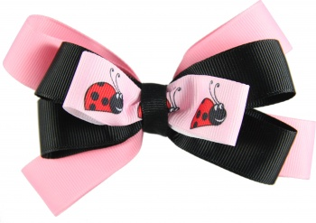 Layered Ladybug Pink and Black Hair Bow