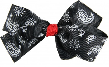Black and White Paisley Hair Bow
