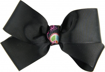 Black Hair Bow with Peace Sign Emblem