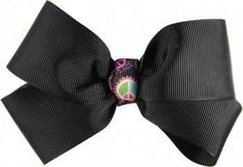 Black Hair Bow with Peace Sign Emblem