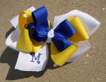 White Yellow Blue School Spirit Hair Bow