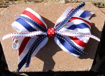 Red White and Blue Oversized Patriotic Hair Bow