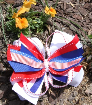 White Red Blue American Patriotic Stripes Girl Hair Bow