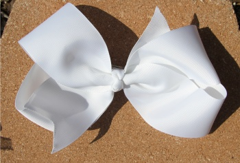 Big White Grosgrain Hair Bow