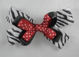 Black Zebra Red Polka Dots Hair Bow