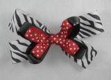 Black Zebra Red Polka Dots Hair Bow