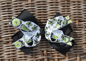 Lime Green and Black Flowers Hair Bow