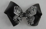 Black Zebra Print Double Layered Hair Bow