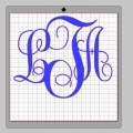 Vinyl Monogram Sticker Decal w/ Interlocking Letters 4x4 Blue