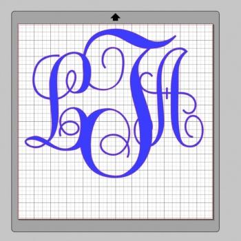 Vinyl Monogram Sticker Decal w/ Interlocking Letters 10x10 Blue