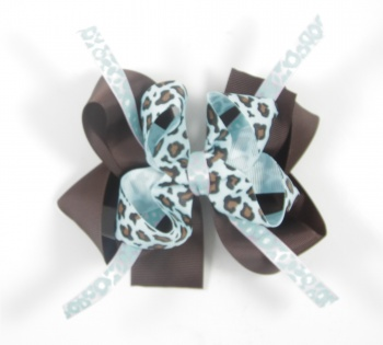 Turquoise Cheetah Print Chocolate Brown Hair Bow