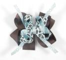 Turquoise Cheetah Print Chocolate Brown Hair Bow