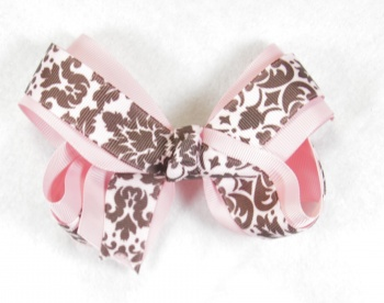 Double Layer Pink and Chocolate Brown Paisley Hair Bow