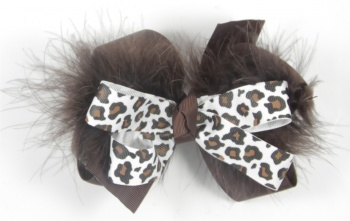 Chocolate Brown Cheetah Print Brown Feather Boa Bow