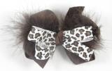 Chocolate Brown Cheetah Print Brown Feather Boa Bow