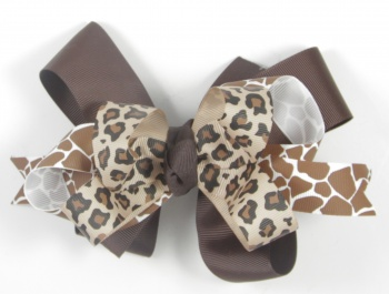 Chocolate Brown Giraffe Cheetah Print Hair Bow