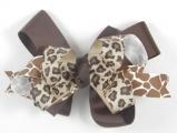 Chocolate Brown Giraffe Cheetah Print Hair Bow