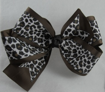 Chocolate Brown Snow Leopard Grosgrain Double Hair Bow