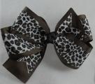 Chocolate Brown Snow Leopard Grosgrain Double Hair Bow