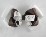 Triple Layered White and Chocolate Brown Horse Hair Bow
