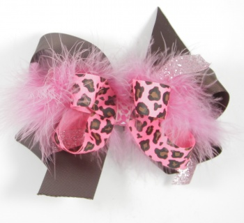 Pink Cheetah Feather Boa and Chocolate Brown Bow