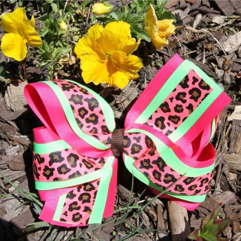 Hot Pink Lime Green Cheetah Print Hair Bow