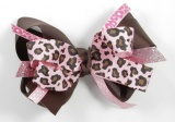 Pink Cheetah Shimmering Pink and Brown Layered Bow