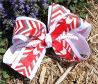 Chevron Red and White Striped Hair Bow