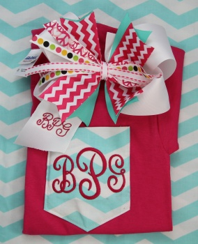 Chevron Pink Bow and Matching Chevron Pink Tee Shirt