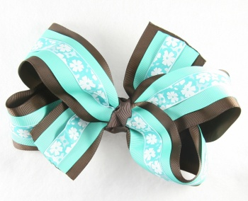 Chocolate Brown Tropical Blue Flowers Hair Bow