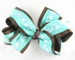 Chocolate Brown Tropical Blue Flowers Hair Bow
