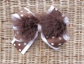 Chocolate Brown White Polka Dot Feather Hair Bow