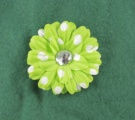 Lime Green White Polka Dots Flower Clip