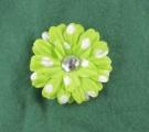 Lime Green White Polka Dots Flower Clip