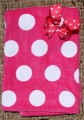 Shocking Pink Polka Dot Bow & Matching Beach Towel Set