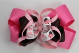 Hot Pink Brown Happy Birthday Cupcake Hair Bow