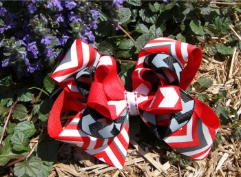 Red Chevron Striped Triple Layer Hair Bow