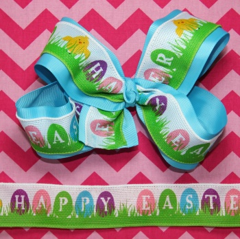 Happy Easter Eggs and Spring Chick Turquoise Hair Bow