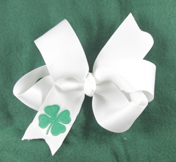 Green Shamrock Embroidered White Grosgrain Ribbon Bow