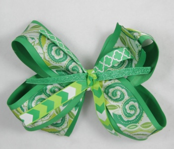 Emerald Paisley Chevron Hair Bow
