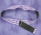 Ribbon Belt in Purple and White Chevron Stripes and Blk