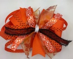 Orange Black Polka Dots with Leaves and Hearts Hair Bow