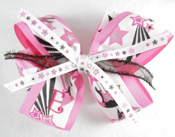 Hot Pink Rock Star Guitar Grosgrain Hair Bow
