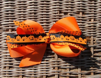 Orange Pumpkins Halloween Hair Bow