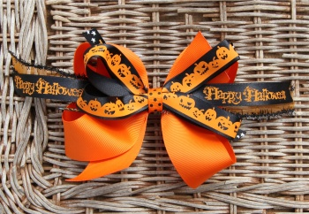 Orange with Smiling Pumpkins Halloween Hair Bow