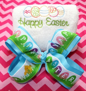 Embroidered Easter Eggs Hand Towel and Happy Easter Bow
