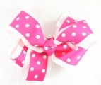 Shocking Pink White Polka Dots Double Layered Hair Bow