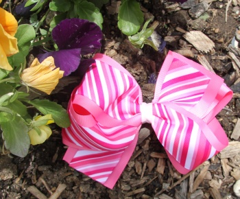 Hot Pink Stripes Hair Bow